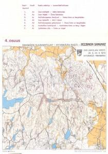 Vuoden 1970 Jukolan viestin 4. osuuden kartta. Tämän vuoden kisassa on samoja rasteja.