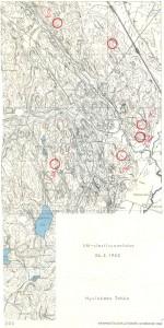 Vuoden 1963 SM-viestin kartta. Tämän vuoden kisassa kilpailukeskus on sama